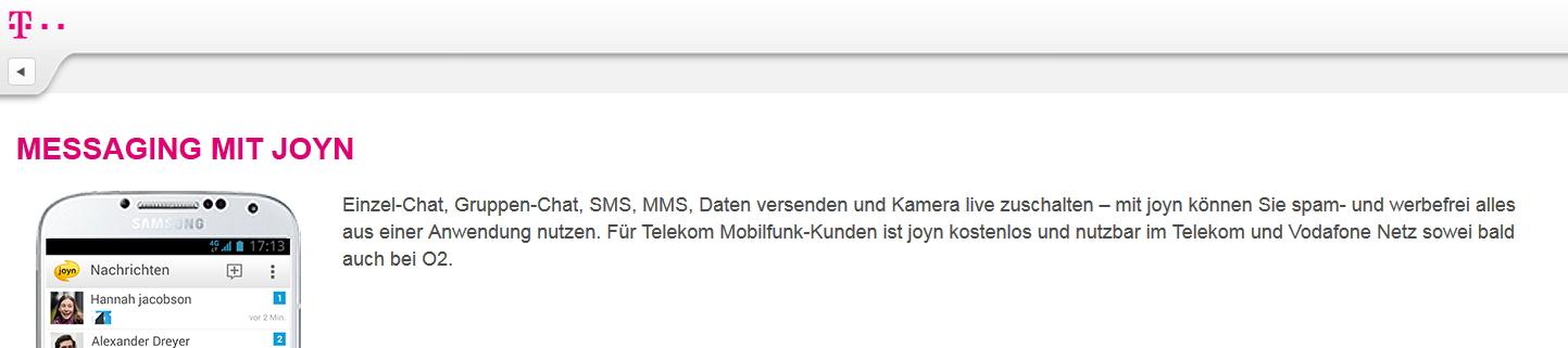 Screenshot telekom.de 23.2.2015 (Tippfehler: sic!)