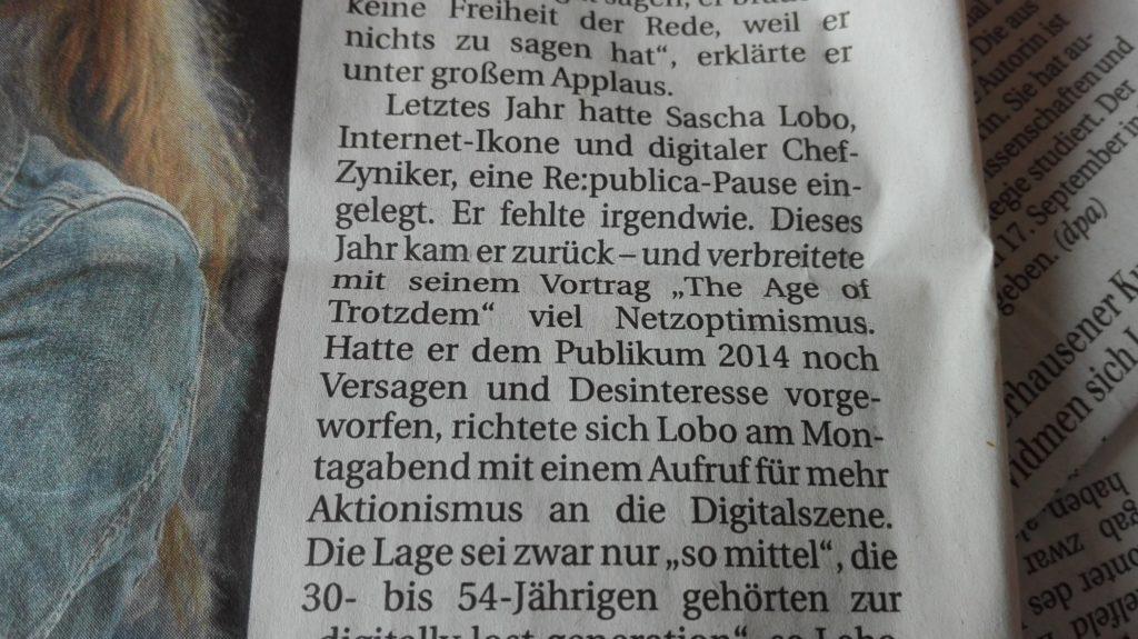 Ich komme zu einer ganz anderen Einschätzung als die Berliner Zeitung vom 3.5.2016